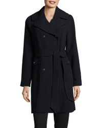 Eliza J - Solid Double-breasted Trench Coat - Lyst