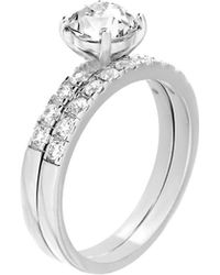 Lord + Taylor Round Double-band Sterling Silver & Swarovski Crystal Engagement And Wedding Ring Set