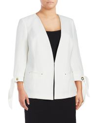 Tahari - Three-quarter Sleeved Tie-cuff Jacket - Lyst