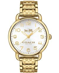 COACH - Delancey Yellow Goldtone Stainless Steel Watch - Lyst