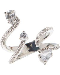 Vince Camuto - Silvertone & Crystal Wrap Organic Ring - Lyst