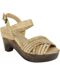 Naughty Monkey - Calla Wooden Wedge Leather Sandals - Lyst