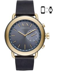 Armani Exchange - Luca Aix Hybrid Stainless Steel And Leather-strap Smart Watch - Lyst