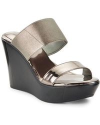 Charles David - Fighter Metallic Leather Platform Wedge Sandals - Lyst