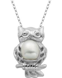 Lord + Taylor 6mm Freshwater Pearl Owl Pendant Necklace - White