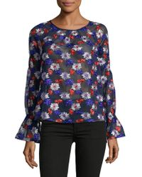 Ella Moss - Embroidered Long-sleeve Blouse - Lyst