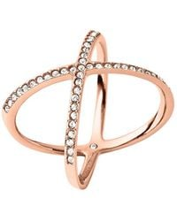 Michael Kors - Brilliance Statement Pavé X Ring/rose Goldtone - Lyst