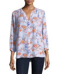 NYDJ - Strawberry-print Button-front Blouse - Lyst