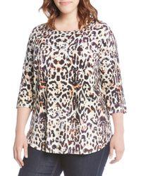 Karen Kane - Plus Cheetah-print Shirttail Top - Lyst