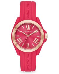 08a221b44377 Michael Kors - Bradshaw Rose Goldtone Silicone Strap Watch - Lyst