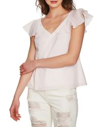 1.STATE - Asymmetrical Button-front Ruffled Cotton Blouse - Lyst