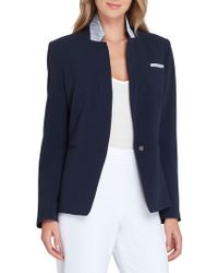 Tahari - Convertible Contrast Collar Jacket - Lyst