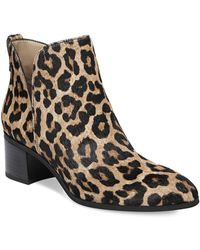 Franco Sarto - Reeve Leopard Print Calf Hair Booties - Lyst