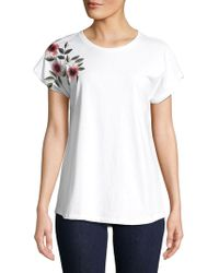 Lord & Taylor - Embroidered Short-sleeve Tee - Lyst