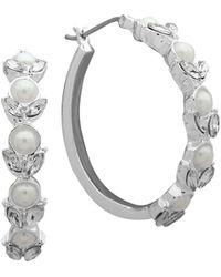 Ak Anne Klein - Silvertone And Faux Pearl Hoop Earrings - Lyst