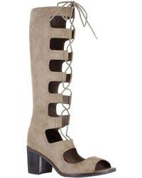 MIA - Elija Lace-up Peep Toe Boots - Lyst