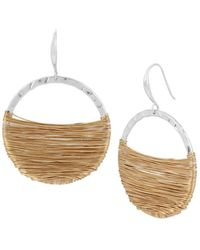 Robert Lee Morris - Bold Moves Goldplated And Silverplated Wire Wrapped Gypsy Hoop Earrings - Lyst