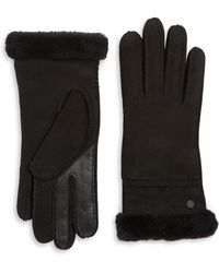UGG - Textured Suede And Fur Gloves - Lyst
