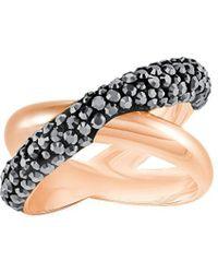 Swarovski - Crystaldust Cross Rose-goldplated Ring - Lyst