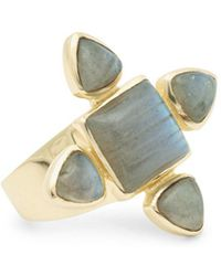 Sole Society - Large Goldtone & Labradorite Ring - Lyst