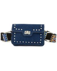 2480e0bcbb4 Steve Madden - Studded Denim And Guitar Strap Belt Bag - Lyst