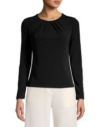 Eliza J - Ruched Neck Long Sleeve Top - Lyst