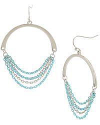 Kenneth Cole - Aqua Chain Gypsy Hoop Earrings - Lyst