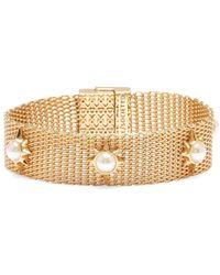 Sole Society - Goldtone & Faux Pearl Mesh Bracelet - Lyst