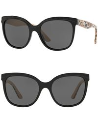 831315f53da1 Lyst - Burberry Brit Spark Round 55mm Sunglasses in Black