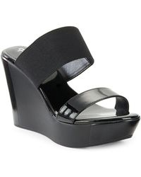 Charles David - Fighter Patent Leather Platform Wedge Sandals - Lyst
