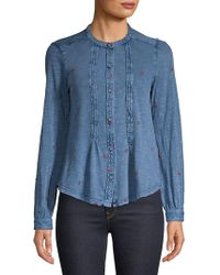 Lucky Brand - Embroidered Button Front Chambray Shirt - Lyst