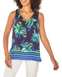 Dorothy Perkins Sleeveless Tropical V-neck Top - Blue