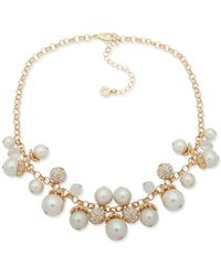 Anne Klein - Faux Pearl And Crystal Link Necklace - Lyst