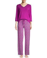 Sesoire - 2-piece Printed & Lace Pyjama Set - Lyst