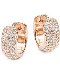 Nadri - Rose Goldtone Pave Huggie Hoop Earrings - Lyst