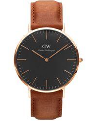 Daniel Wellington - Classic Black Durham Rose Gold And Leather Strap Watch - Lyst