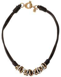 Robert Lee Morris Atlantis Two-tone Ring And Leather Necklace - Metallic