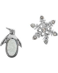Lonna & Lilly - Crystal Mismatched Earrings - Lyst