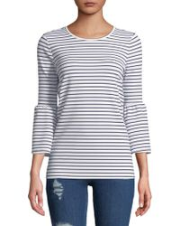 Kensie - Three-quarter Bell-sleeve Striped Top - Lyst