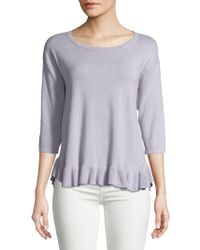 Lord & Taylor - Petite Ruffled Sweater - Lyst