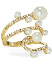Vince Camuto - Faux Pearl & Crystal Wraparound Ring - Lyst