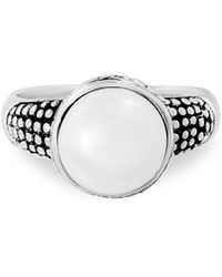 Lord & Taylor - 925 Sterling Silver & 9mm White Pearl Scrollwork Ring - Lyst