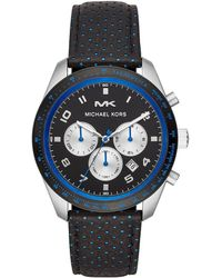 4cc0be432 Michael Kors - Keaton Round Stainless Steel Chronograph Perforated Leather  Strap Watch - Lyst