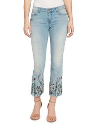 William Rast - Embroidered Floral Cropped Flare Jeans - Lyst