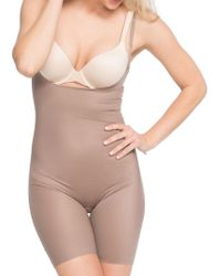 Spanx - Two-timing Open-bust Mid-thigh Bodysuit - Lyst