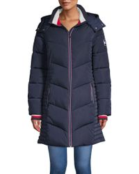 Tommy Hilfiger - Long Chevron Quilted Puffer Coat - Lyst