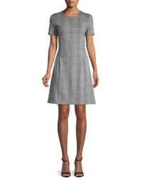 Lord & Taylor - Short Sleeve Ponte Plaid Fit-&-flare Dress - Lyst