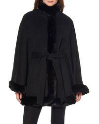 Ellen Tracy - Tie Faux Fur-trimmed Poncho - Lyst