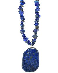 Lord & Taylor - Sterling Silver And Lapis Pendant Chip Necklace - Lyst