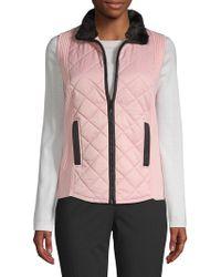 Jones New York - Faux Fur Collar Knit-insert Puffer Vest - Lyst